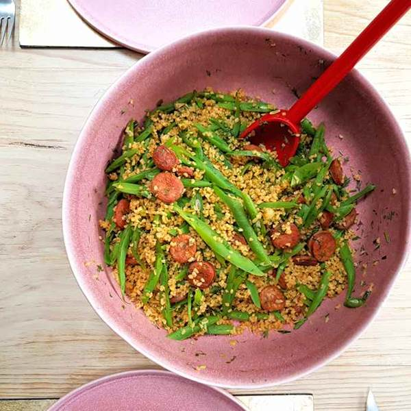 bulgur wheat salad with chorizo and runner beans
