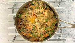 baked rice with brown shrimp