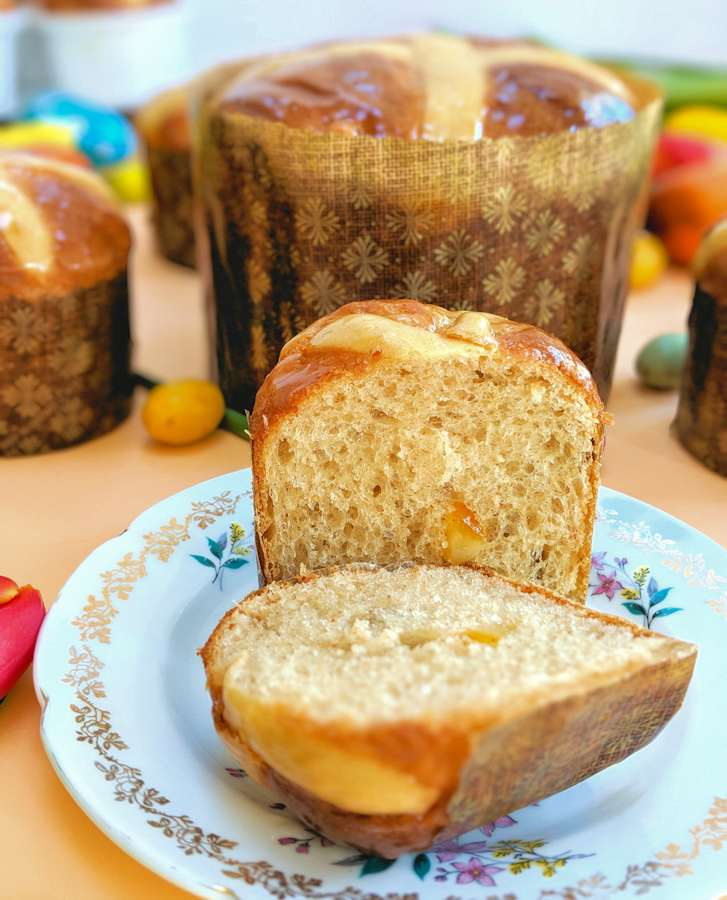 Easter hot cross panettone