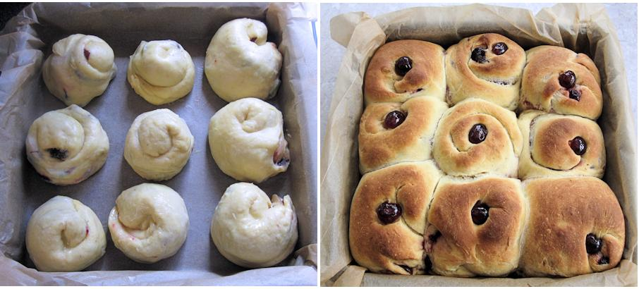 Cherry buns before and after baking