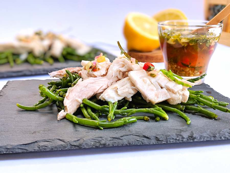 raw samphire and poached fish