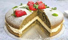 matcha cake with lemon cream
