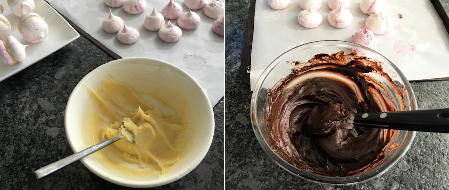 Chocolate filling for meringues
