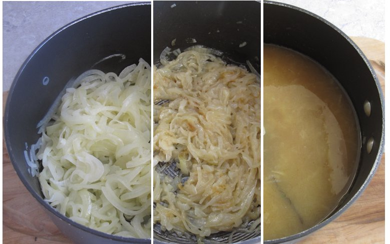 Cooking onion soup
