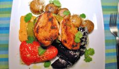 Partridge with grilled peppers