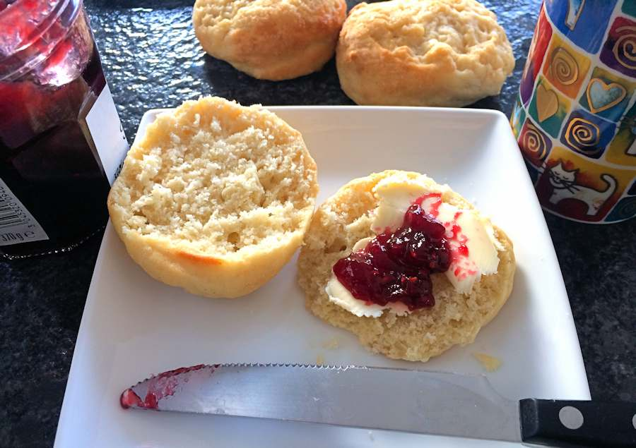 Pineapple scone with butter and jam