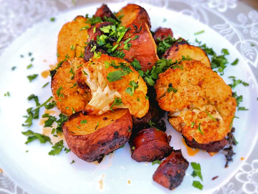 potatoes with cauliflower and chorizo
