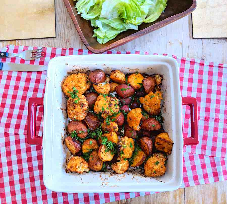 potato and chorizo traybake