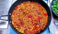 rice with corn and chorizo