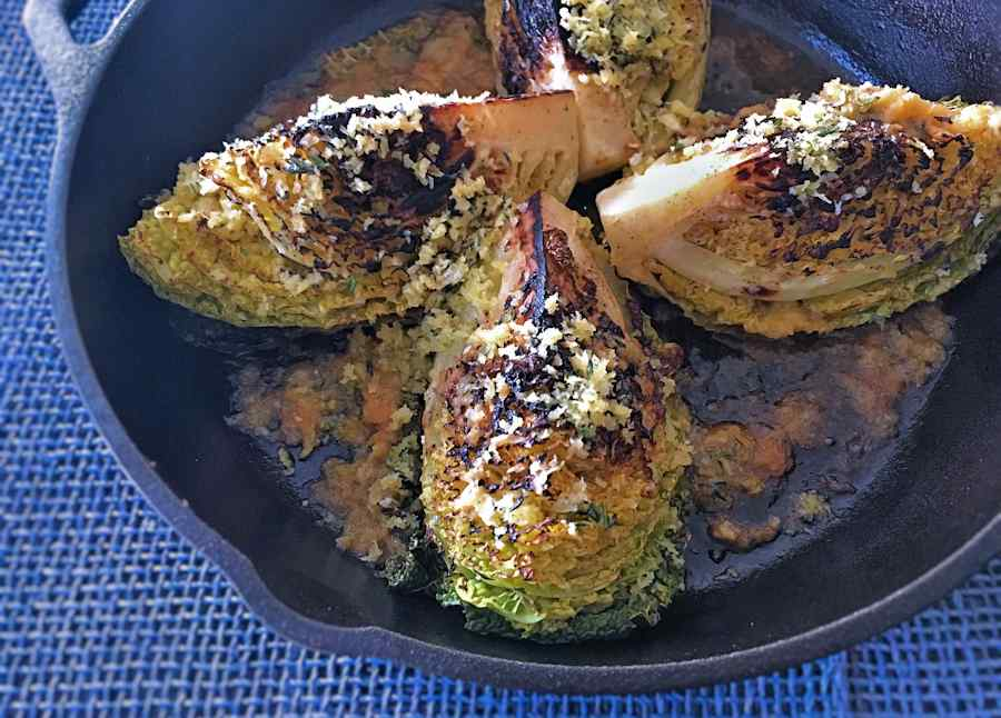 Baked savoy cabbage wedges