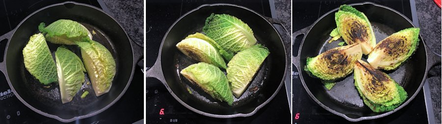 Searing savoy cabbage wedges