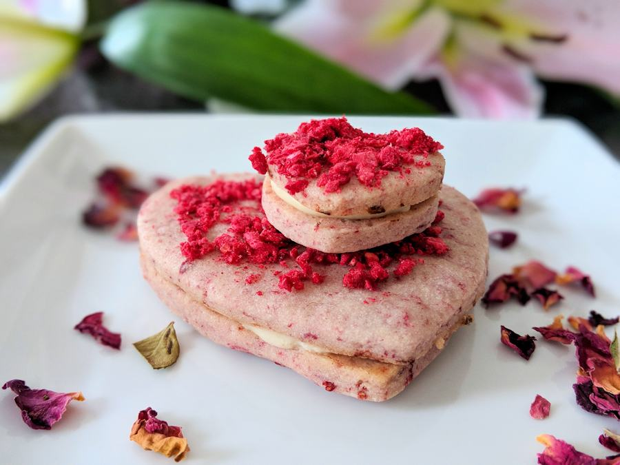 rose and raspberry biscuits