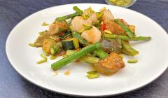 scallo and asparagus stir fry