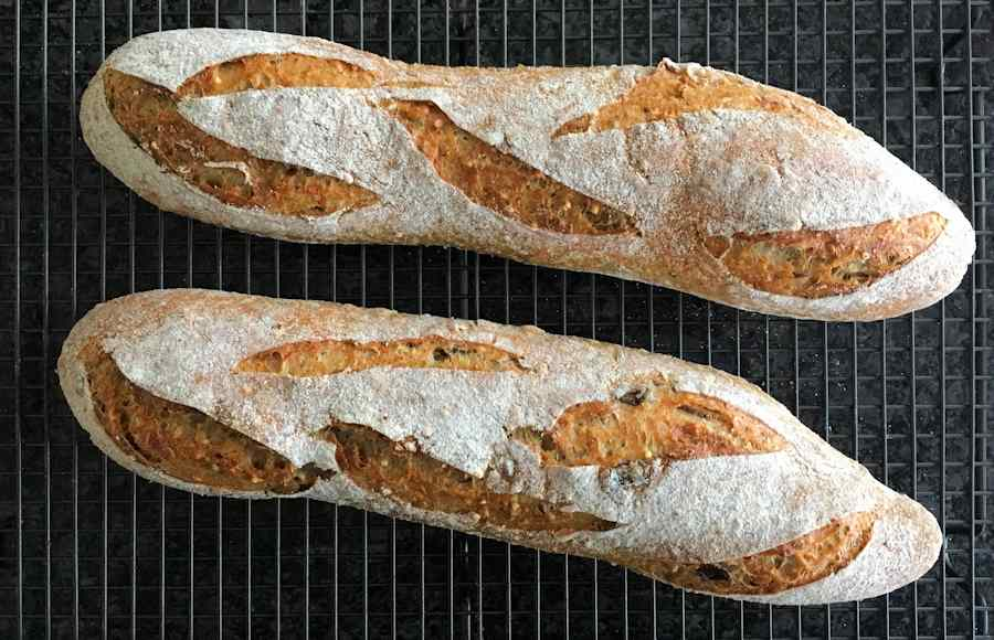 Seeded sourdough batons