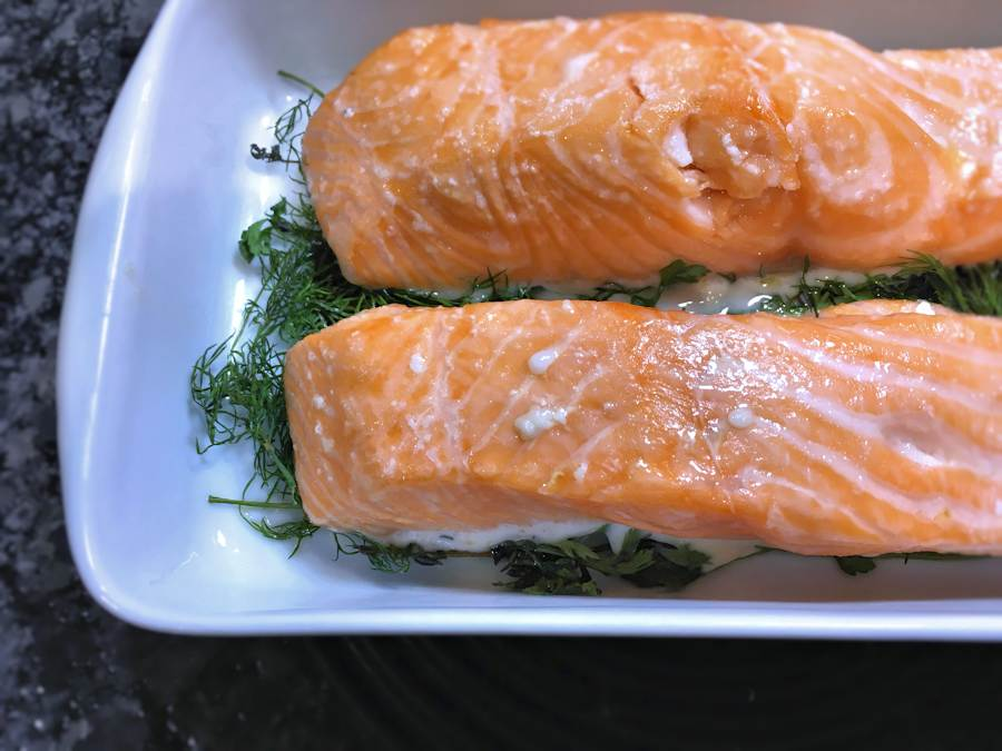 Roasted side of salmon