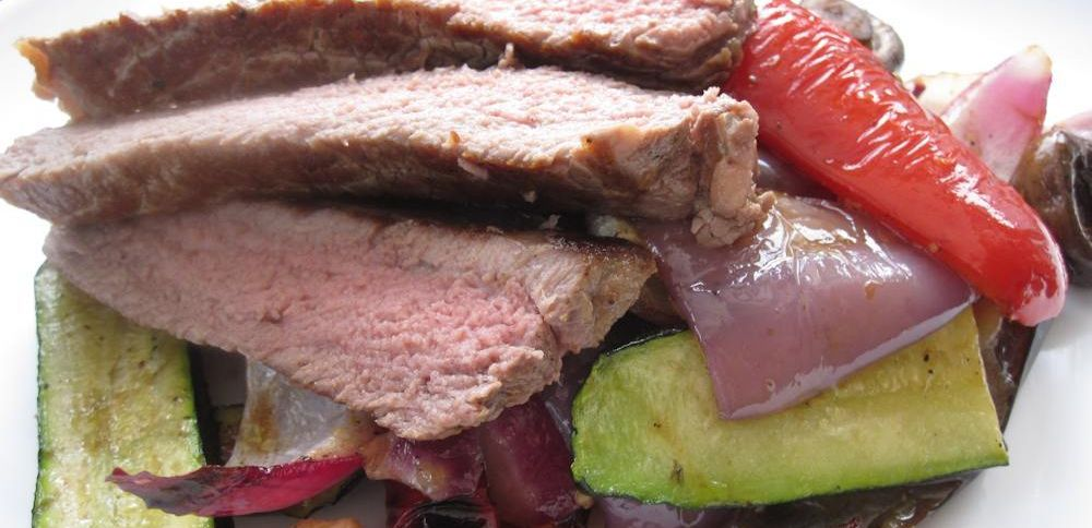 Steak and grilled vegetables salad