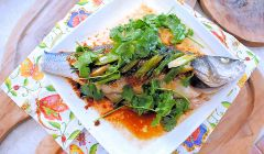 steamed oriental sea bass
