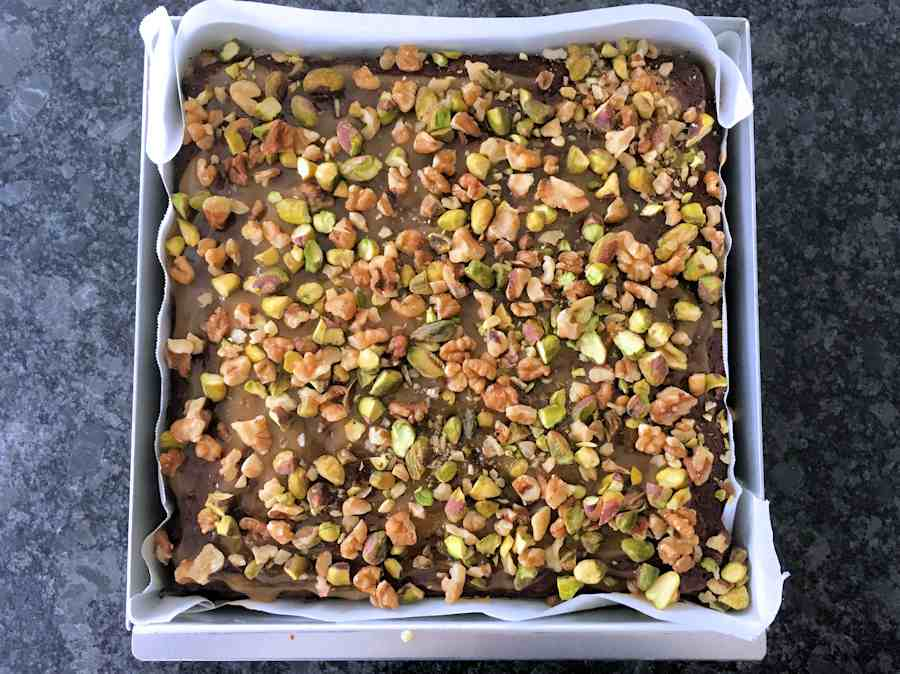date cake with nut topping