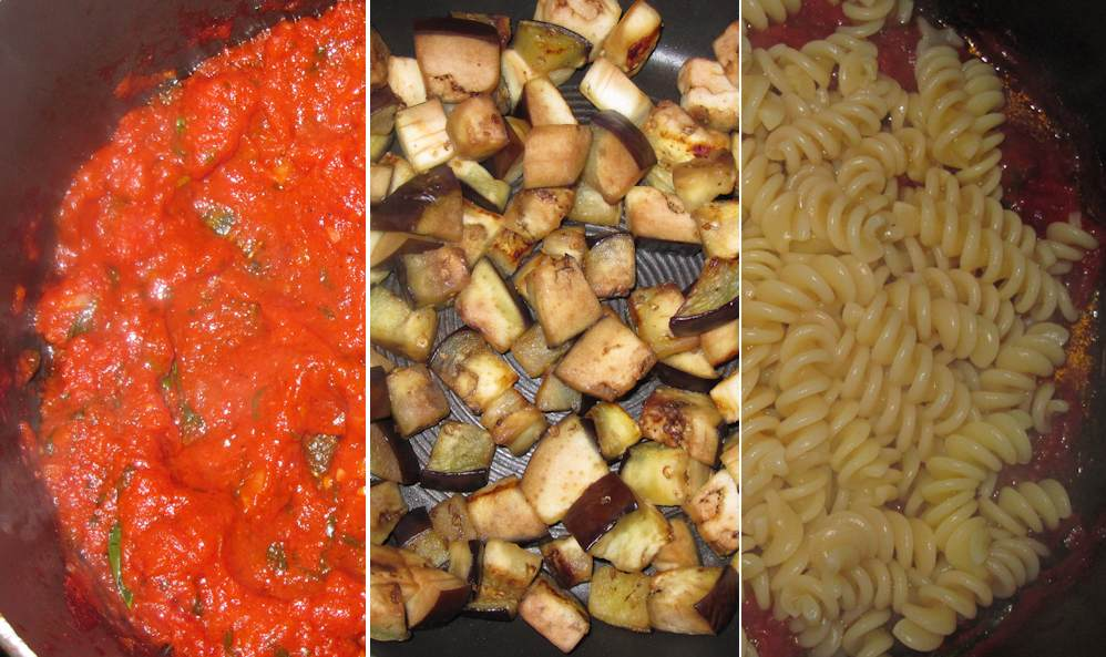 Cooking pasta and tomato sauce