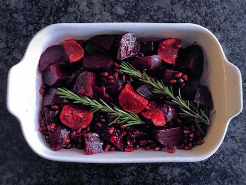 twice roasted beets with pomegranate