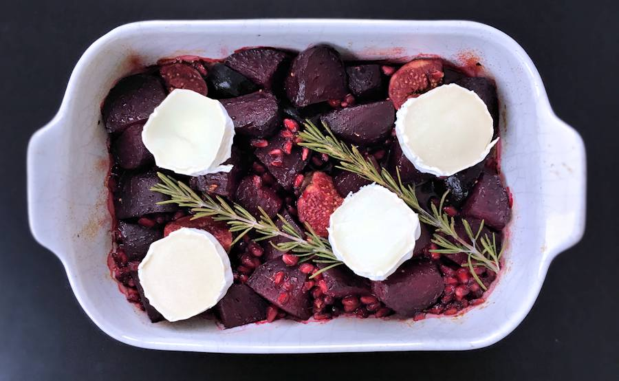 Roasted beetroot with figs and pomegranate