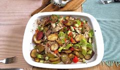 Warm potato and mackerel salad